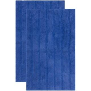 Safavieh Plush Master Spa Stripe Indigo Bath Rug (Set Of 2)