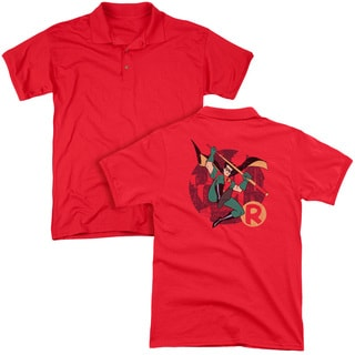 Batman The Animated Series/Robin Leap (Back Print) Mens Regular Fit Polo in Red