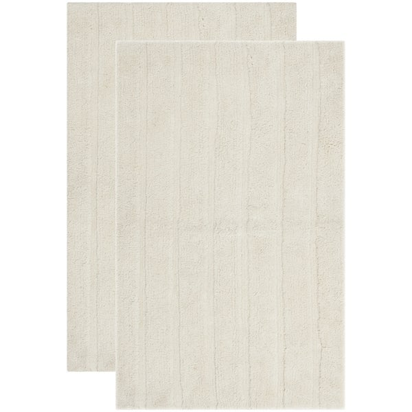 Safavieh Plush Master Spa Stripe Vanilla Bath Rug (Set Of 2)