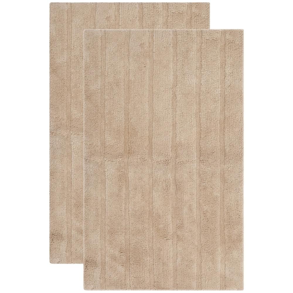 Safavieh Spa 2400 Gram Stripes Natural 21 x 34 Bath Rug Set Off-White 1/'7 x 2/'8