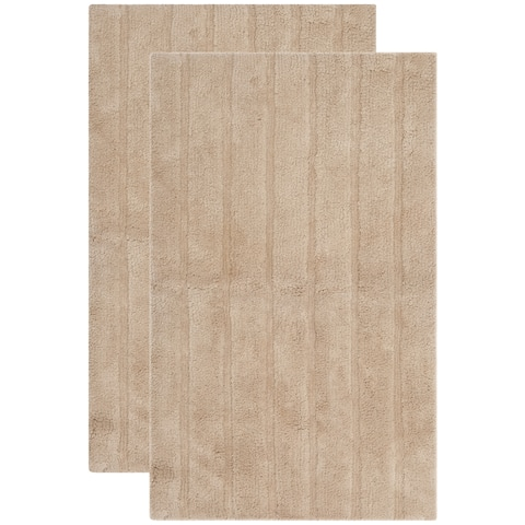 Safavieh Plush Master Spa Stripe Camel Bath Rug (Set Of 2) - 21 x 34