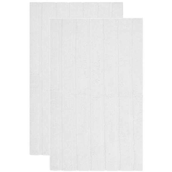 Safavieh Plush Master Spa Stripe White Bath Rug (Set Of 2)