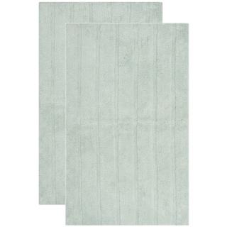 Safavieh Plush Master Spa Stripe Aqua Bath Rug (Set Of 2)