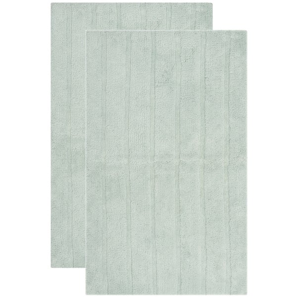 "Safavieh Plush Master Spa Stripe Aqua Bath Rug (Set of 2) - 2'3"" x 3'9"""