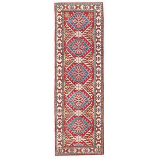 Herat Oriental Afghan Hand-knotted Kazak Red/ Ivory Wool Runner (2'3 x 7')