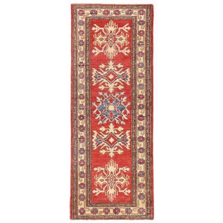 Herat Oriental Afghan Hand-knotted Kazak Red/ Ivory Wool Runner (2' x 5'5)