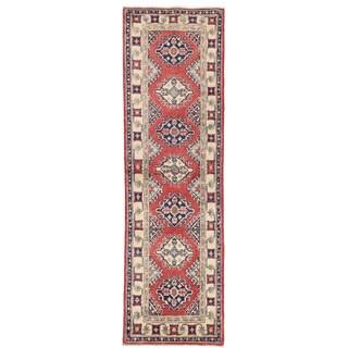 Herat Oriental Afghan Hand-knotted Kazak Red/ Ivory Wool Runner (1'11 x 6'4)