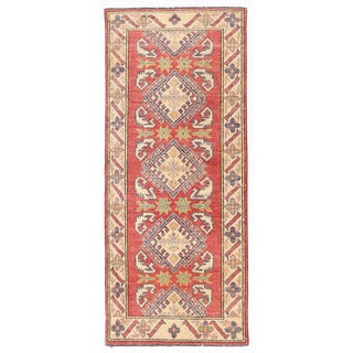 Herat Oriental Afghan Hand-knotted Kazak Red/ Ivory Wool Runner (2'3 x 5'4)
