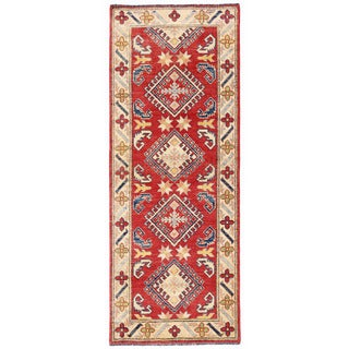 Herat Oriental Afghan Hand-knotted Kazak Wool Runner (2'3 x 6'3)