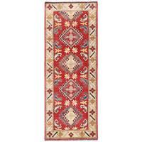 Herat Oriental Afghan Hand-knotted Kazak Wool Runner (2'3 x 6'3) - 2'3 x 6'3