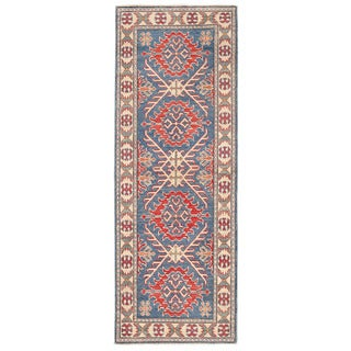Herat Oriental Afghan Hand-knotted Kazak Blue/ Ivory Wool Runner (2'2 x 6'1)
