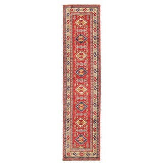 Herat Oriental Afghan Hand-knotted Kazak Red/ Ivory Wool Runner (2'8 x 11')