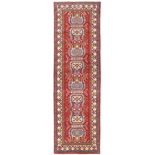Herat Oriental Afghan Hand-knotted Kazak Red/ Ivory Wool Runner (2'7 x 8'9)