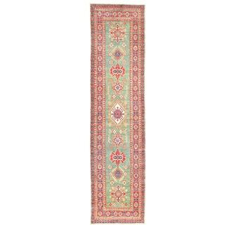Herat Oriental Afghan Hand-knotted Kazak Light Green/ Red Wool Runner (2'8 x 10'7)
