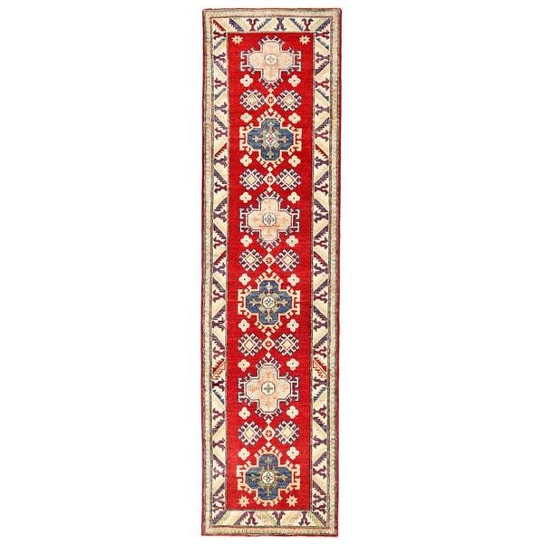 Handmade Herat Oriental Afghan Kazak Wool Runner (Afghanistan) - 2'5 x 9'5