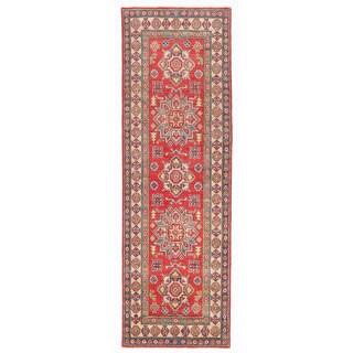 Herat Oriental Afghan Hand-knotted Kazak Red/ Ivory Wool Runner (2'5 x 7'6)