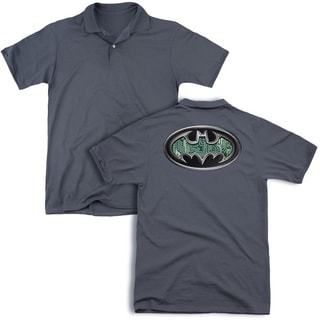 Batman/Circuitry Shield (Back Print) Mens Regular Fit Polo in Charcoal