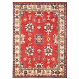 Herat Oriental Afghan Hand-knotted Kazak Red/ Ivory Wool Rug (9'6 x 13'4)
