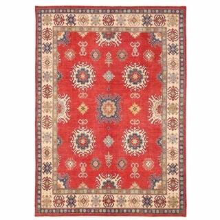 Herat Oriental Afghan Hand-knotted Kazak Red/ Ivory Wool Rug (9'6 x 13'4)