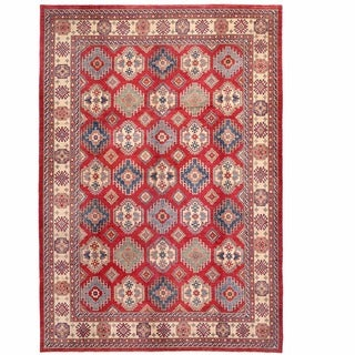 Herat Oriental Afghan Hand-knotted Kazak Red/ Ivory Wool Rug (11' x 15')