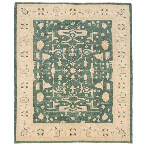Herat Oriental Afghan Hand-knotted Oushak Wool Rug (8' x 9'7)