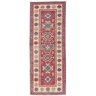 Herat Oriental Afghan Hand-knotted Kazak Red/ Ivory Wool Rug (2' x 5'6)