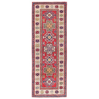 Herat Oriental Afghan Hand-knotted Kazak Red/ Ivory Wool Rug (2'1 x 5'8)
