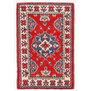 Herat Oriental Afghan Hand-knotted Kazak Red/ Ivory Wool Rug (1'11 x 2'10)