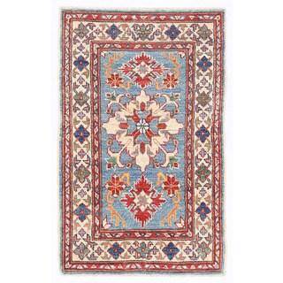 Herat Oriental Afghan Hand-knotted Kazak Light Blue/ Ivory Wool Rug (2' x 3'3)