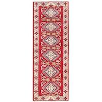 Herat Oriental Afghan Hand-knotted Kazak Wool Runner - 2'5 x 6'6