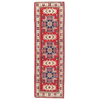 Herat Oriental Afghan Hand-knotted Kazak Red/ Ivory Wool Runner (1'11 x 6'3)