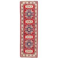 Herat Oriental Afghan Hand-knotted Kazak Wool Runner - 1'11 x 6'3