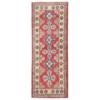 Herat Oriental Afghan Hand-knotted Kazak Red/ Ivory Wool Runner (2'2 x 5'9)
