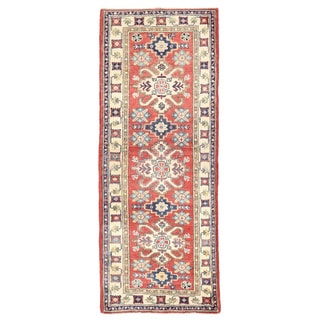 Herat Oriental Afghan Hand-knotted Kazak Red/ Ivory Wool Runner (2'2 x 5'6)
