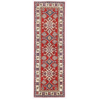Herat Oriental Afghan Hand-knotted Kazak Red/ Ivory Wool Runner (2'2 x 6'1)