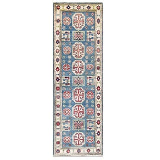 Herat Oriental Afghan Hand-knotted Kazak Blue/ Ivory Wool Runner (2' x 5'10)