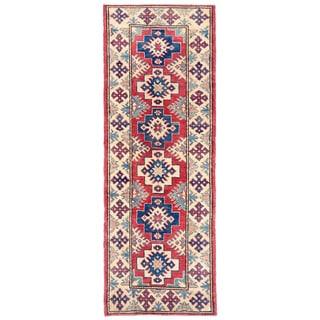 Herat Oriental Afghan Hand-knotted Kazak Red/ Ivory Wool Runner (2'3 x 6'4)