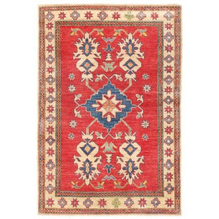 Herat Oriental Afghan Hand-knotted Kazak Wool Rug (3'5 x 4'11)