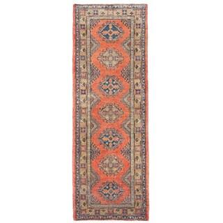 Herat Oriental Afghan Hand-knotted Kazak Red/ Ivory Wool Runner (2' x 5'10)