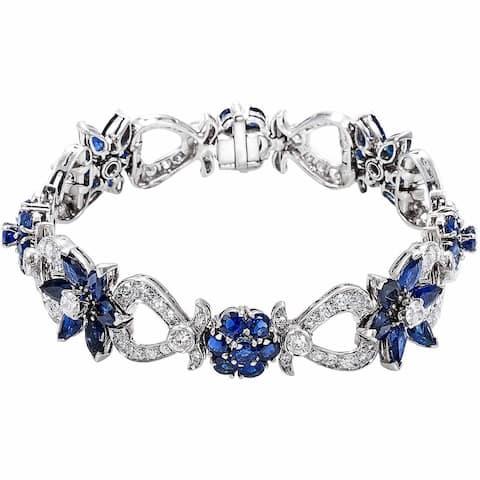 Platinum 3 1/2ct TDW Diamond and Sapphires Flower Estate Bracelet (H-I, SI1-SI2)