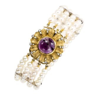 18k Yellow Gold 1/5ct TDW Amethyst Four Row Pearl Bracelet (H-I, SI1-SI2)