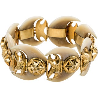 14k Yellow Gold Antique Bone Bracelet