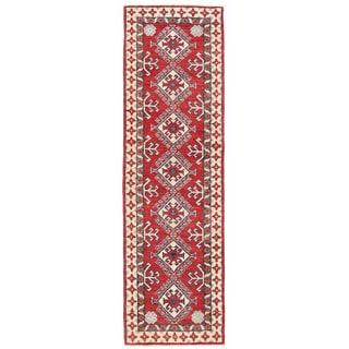 Herat Oriental Afghan Hand-knotted Kazak Wool Runner (1'11 x 6'9)