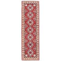 Herat Oriental Afghan Hand-knotted Kazak Wool Runner - 1'11 x 6'9