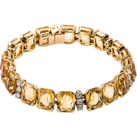 18k Yellow Gold 1 7/8ct TDW Citrines and Diamond Patterned French Bracelet (G-H, VS1-VS2)