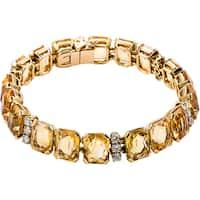 18k Yellow Gold 1 7/8ct TDW Citrines and Diamond Patterned French Bracelet (G-H, VS1-VS2)