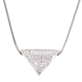 14k White Gold 2ct TDW Pave Diamond Triangle Pendant Necklace (G-H, VS1-VS2)