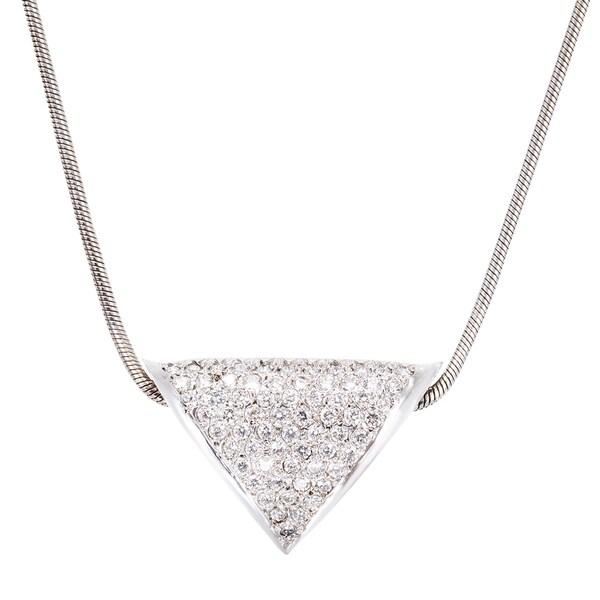 14k White Gold 2ct TDW Pave Diamond Triangle Pendant Necklace (G-H, VS1-VS2)