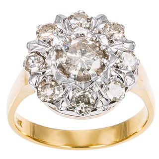 14k Two tone Gold 1ct TDW Cluster Diamond Sunflower Ring (K-L, I1-I2)