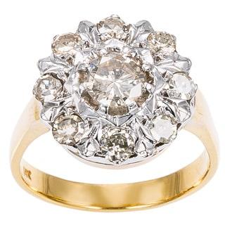 14k Two tone Gold 1ct TDW Cluster Diamond Sunflower Ring (K-L, I1-I2)